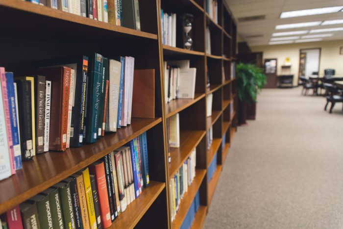 photo of bookshelves in the Wosham library | Worsham College of Mortuary Science | Wheeling, Illinois