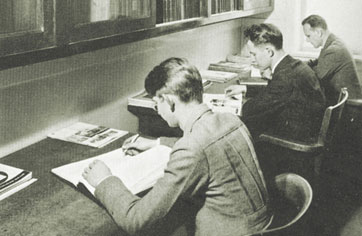 photograph of students studying early mortuary science students at Worsham College
