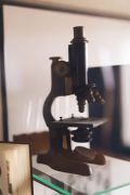 Old microscope used for specimen study